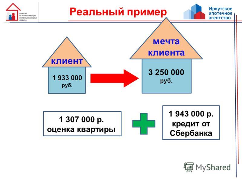 Реальный пример 1 933 000 руб. клиент 3 250 000 руб. мечта клиента 1 307 000 р. оценка квартиры 1 943 000 р. кредит от Сбербанка