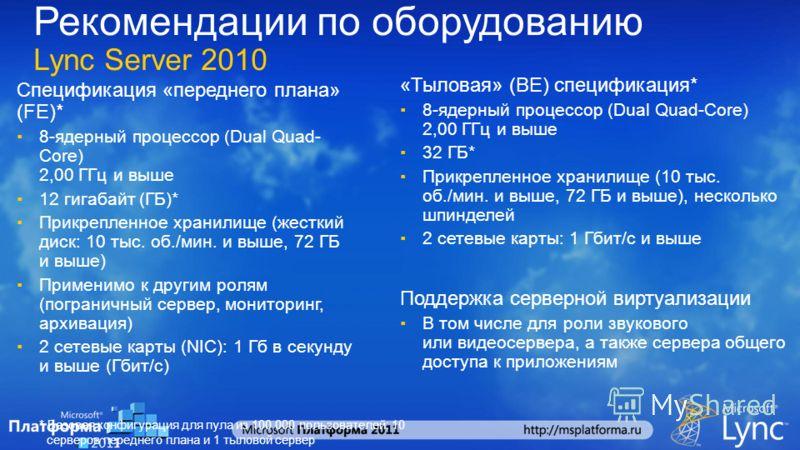 Рекомендации по оборудованию Lync Server 2010 Спецификация «переднего плана» (FE)* 8-ядерный процессор (Dual Quad- Core) 2,00 ГГц и выше 12 гигабайт (ГБ)* Прикрепленное хранилище (жесткий диск: 10 тыс. об./мин. и выше, 72 ГБ и выше) Применимо к други