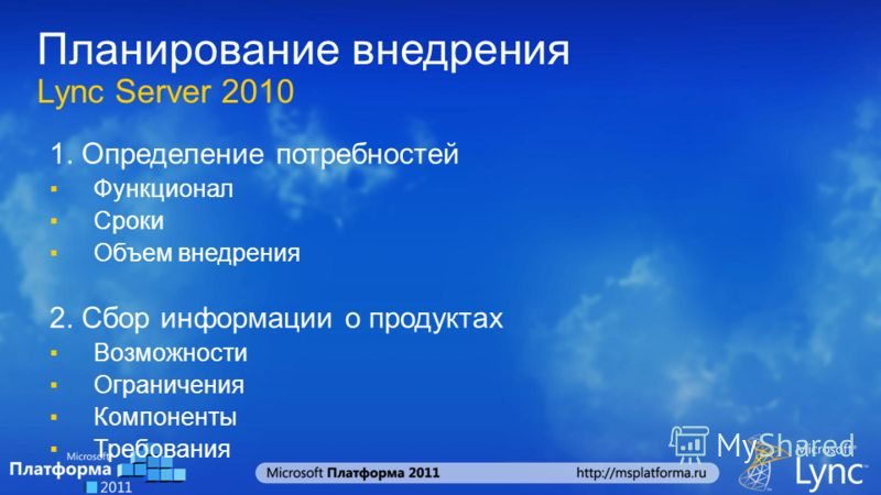 Планирование внедрения Lync Server 2010 1. Определение потребностей Функционал Сроки Объем внедрения 2. Сбор информации о продуктах Возможности Ограничения Компоненты Требования
