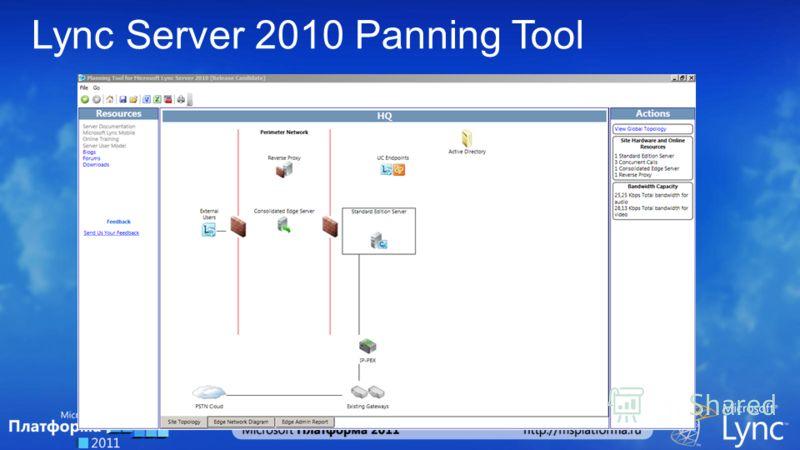 Lync Server 2010 Panning Tool