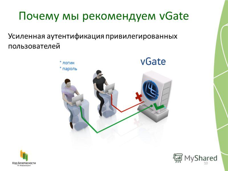 Почему мы рекомендуем vGate 10 Усиленная аутентификация привилегированных пользователей