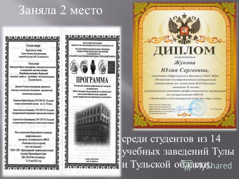 Заняла 2 место среди студентов из 14 учебных заведений Тулы и Тульской области.
