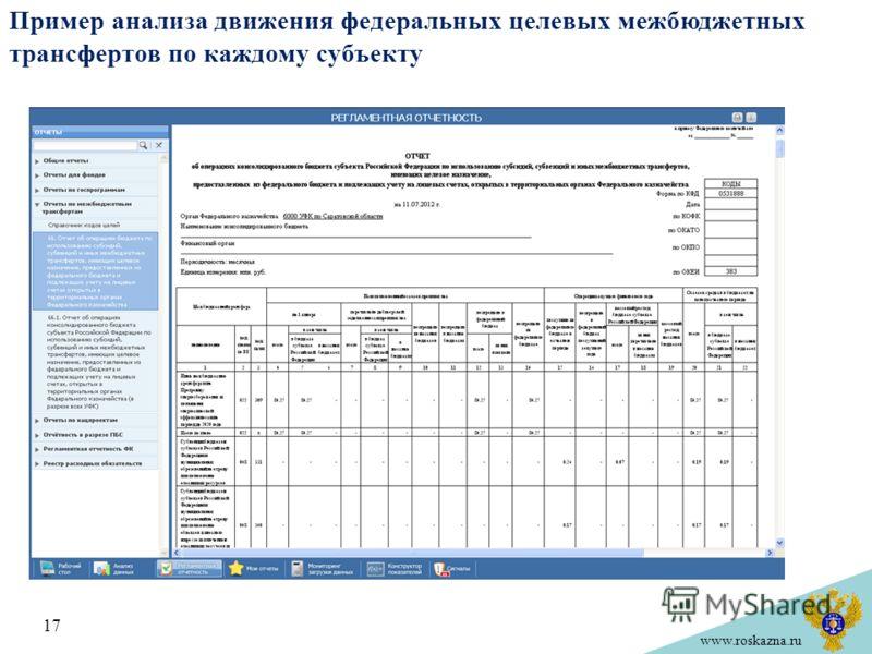 www.roskazna.ru Пример анализа движения федеральных целевых межбюджетных трансфертов по каждому субъекту 17
