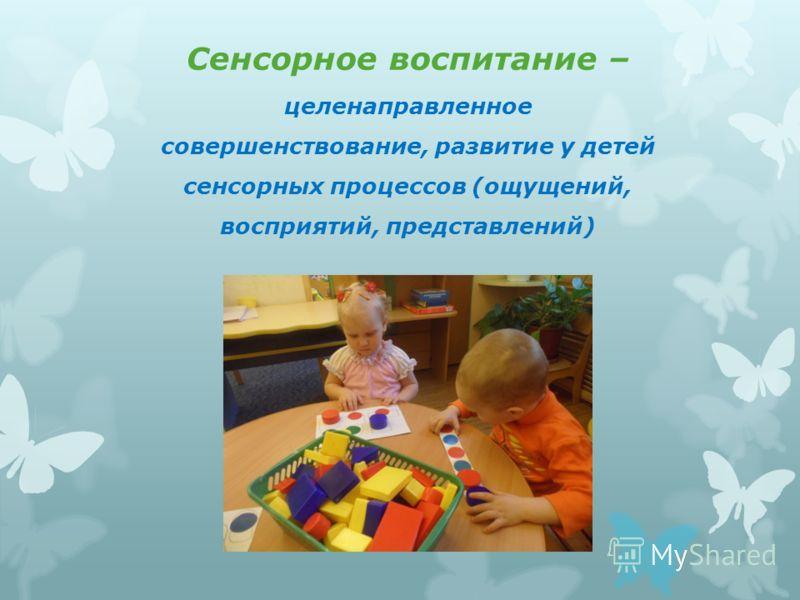Сенсорное воспитание – целенаправленное совершенствование, развитие у детей сенсорных процессов (ощущений, восприятий, представлений)