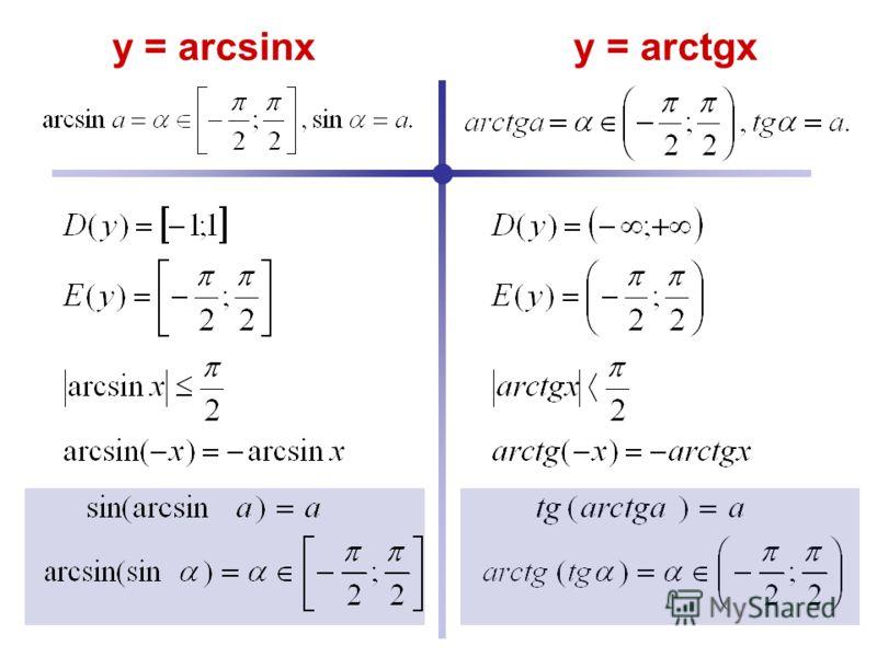 y = arcsinx y = arctgx