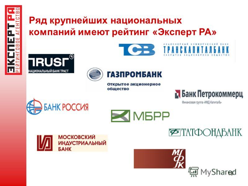 18 Ряд крупнейших национальных компаний имеют рейтинг «Эксперт РА»