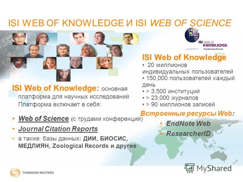 ISI Web of Knowledge: основная платформа для научных исследований Платформа включает в себя: Web of ScienceWeb of Science ( с трудами конференций) Journal Citation Reports а также базы данных: ДИИ, БИОСИС, МЕДЛИЯН, Zoological Records и другие Встроен