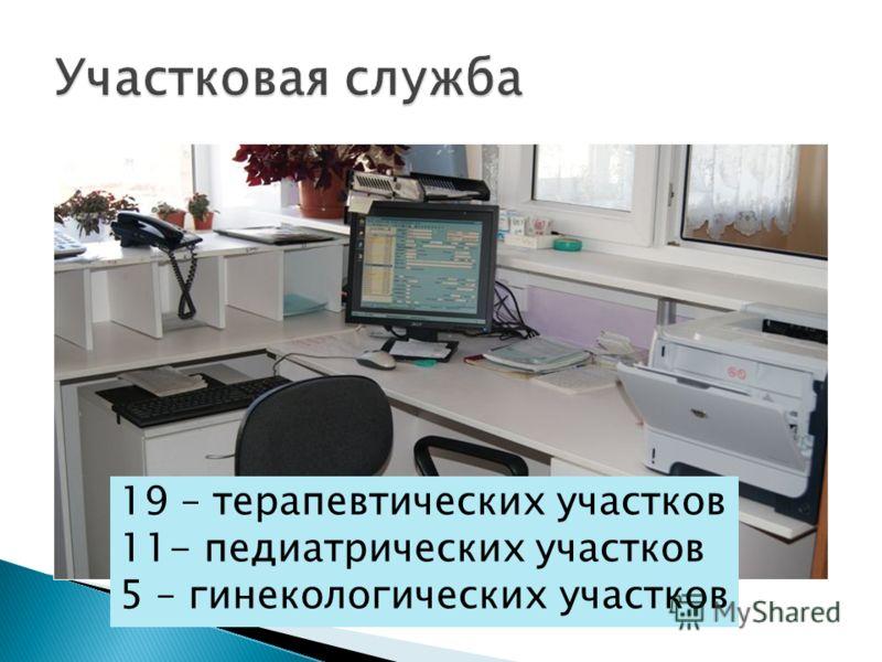 19 – терапевтических участков 11- педиатрических участков 5 – гинекологических участков
