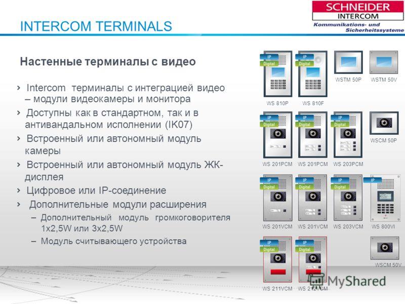 INTERCOM TERMINALS Настенные терминалы с видео Intercom терминалы с интеграцией видео – модули видеокамеры и монитора Доступны как в стандартном, так и в антивандальном исполнении (IK07) Встроенный или автономный модуль камеры Встроенный или автономн