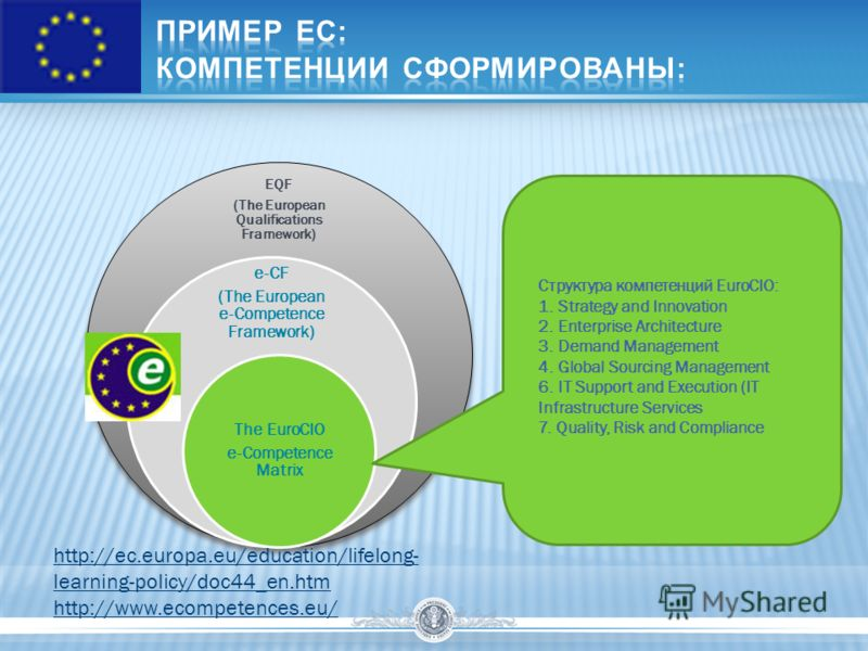 EQF (The European Qualifications Framework) e-СF (The European e-Competence Framework) The EuroCIO e-Competence Matrix Структура компетенций EuroCIO: 1. Strategy and Innovation 2. Enterprise Architecture 3. Demand Management 4. Global Sourcing Manage
