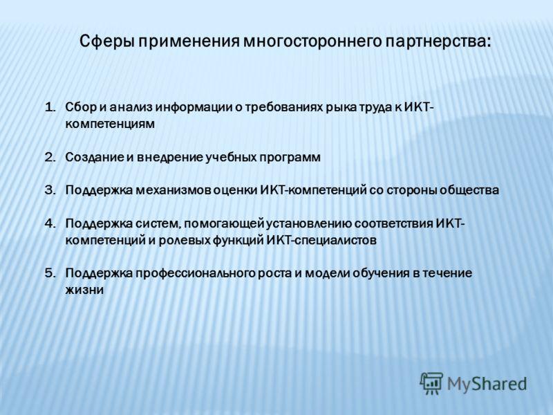 Сферы применения многостороннего партнерства: 1.Сбор и анализ информации о требованиях рыка труда к ИКТ- компетенциям 2.Создание и внедрение учебных программ 3.Поддержка механизмов оценки ИКТ-компетенций со стороны общества 4.Поддержка систем, помога