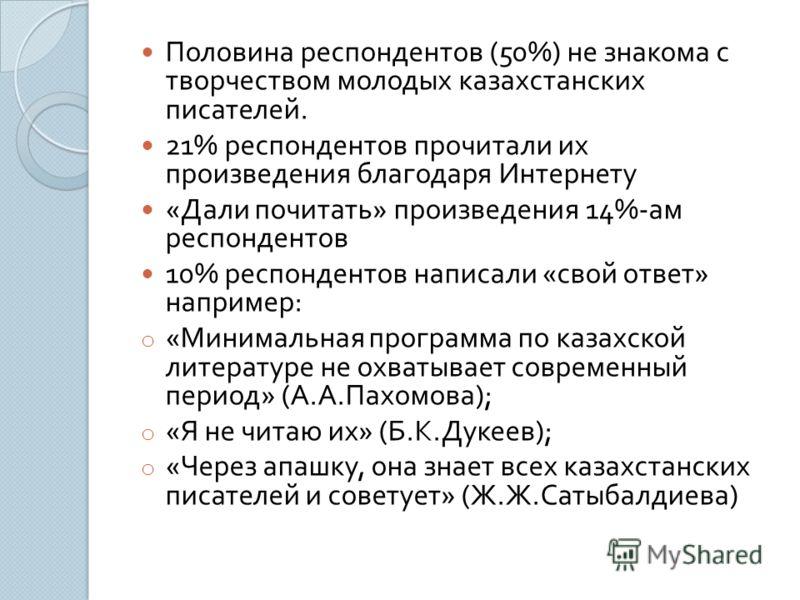 Половина респондентов (50%) не знакома с творчеством молодых казахстанских писателей. 21% респондентов прочитали их произведения благодаря Интернету « Дали почитать » произведения 14%- ам респондентов 10% респондентов написали « свой ответ » например