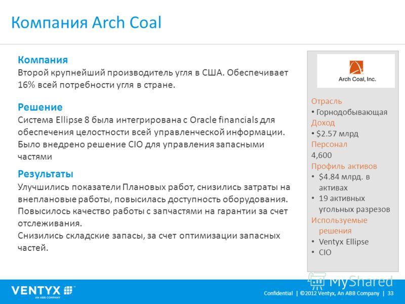 Компания Arch Coal Отрасль Горнодобывающая Доход $2.57 млрд Персонал 4,600 Профиль активов $4.84 млрд. в активах 19 активных угольных разрезов Используемые решения Ventyx Ellipse CIO Компания Второй крупнейший производитель угля в США. Обеспечивает 1