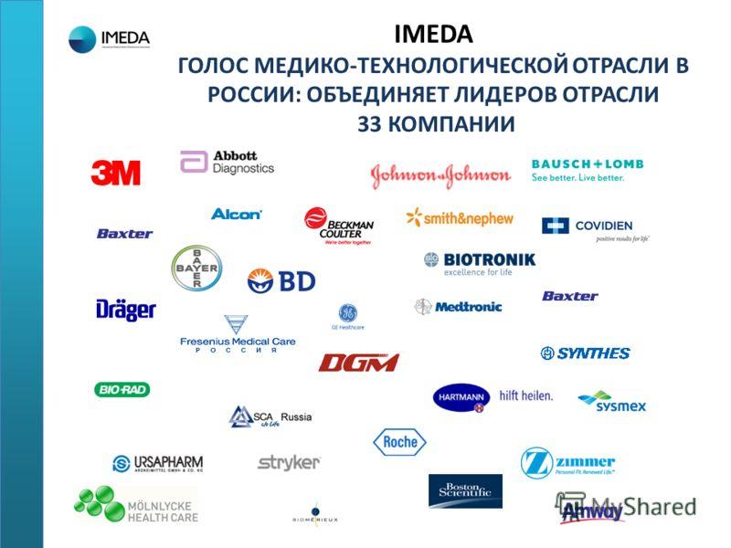 IMEDA ГОЛОС МЕДИКО-ТЕХНОЛОГИЧЕСКОЙ ОТРАСЛИ В РОССИИ: ОБЪЕДИНЯЕТ ЛИДЕРОВ ОТРАСЛИ 33 КОМПАНИИ