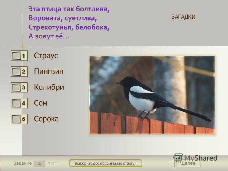 Далее 4 Задание 1 бал. Выберите все правильные ответы! 1111 2222 3333 4444 5555 Эта птица так болтлива, Воровата, суетлива, Стрекотунья, белобока, А зовут её… Страус Пингвин Колибри Сом Сорока ЗАГАДКИ