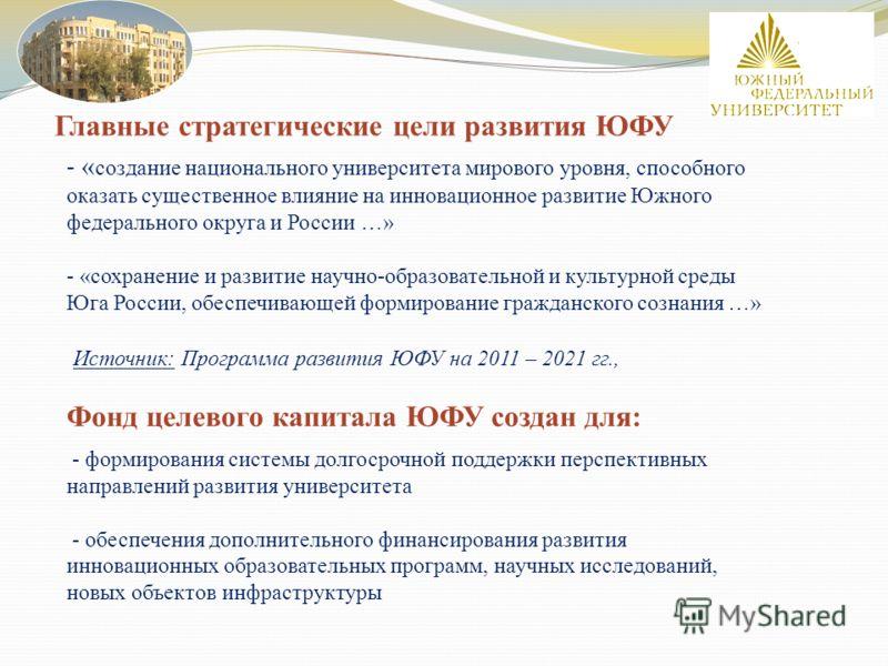 - « создание национального университета мирового уровня, способного оказать существенное влияние на инновационное развитие Южного федерального округа и России …» - «сохранение и развитие научно-образовательной и культурной среды Юга России, обеспечив