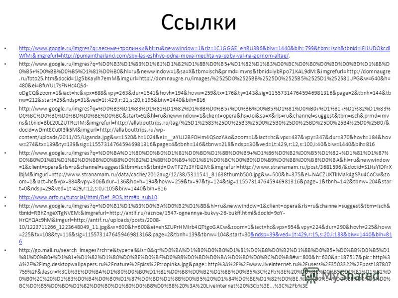 Ссылки http://www.google.ru/imgres?q=лесные+тропинки&hl=ru&newwindow=1&rlz=1C1GGGE_enRU386&biw=1440&bih=799&tbm=isch&tbnid=IFI1UDOkcdl WfM:&imgrefurl=http://pumainthailand.com/sby-las-eshhyo-odna-moya-mechta-ya-poby-val-na-gornom-altae/. http://www.g