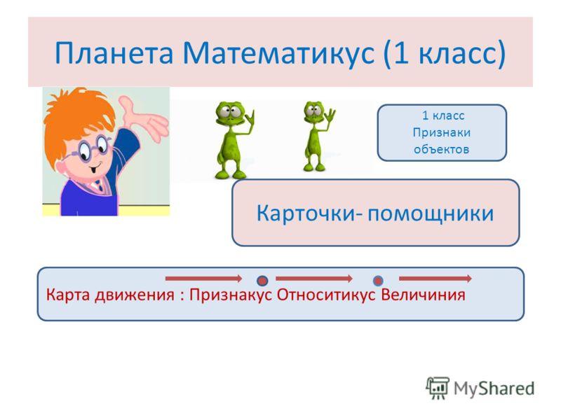 Планета Математикус (1 класс) 1 класс Признаки объектов Карточки- помощники Карта движения : Признакус Относитикус Величиния