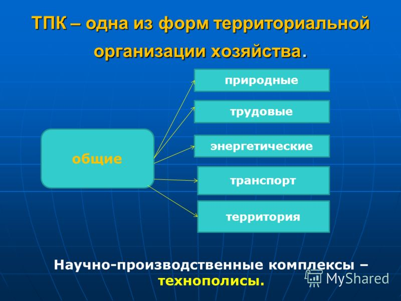 ТПК – одна из форм территориальной организации хозяйства. общие природные трудовые энергетические транспорт территория Научно-производственные комплексы – технополисы.