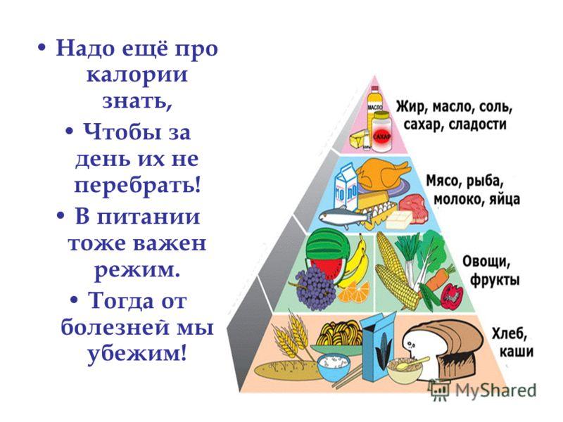 Надо ещё про калории знать, Чтобы за день их не перебрать! В питании тоже важен режим. Тогда от болезней мы убежим!