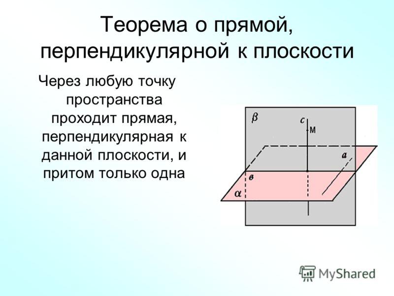 Теорема о прямой, перпендикулярной к плоскости Через любую точку пространства проходит прямая, перпендикулярная к данной плоскости, и притом только одна