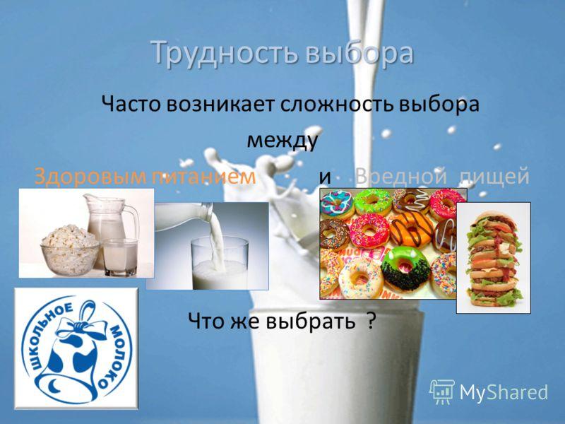 Трудность выбора Часто возникает сложность выбора между Здоровым питанием и Вредной пищей Что же выбрать ?