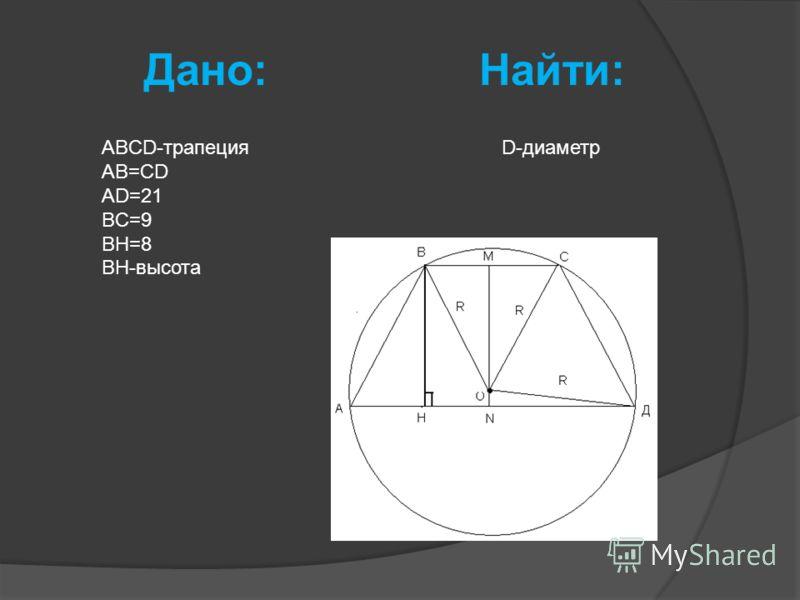 Дано: Найти: ABCD-трапеция AB=CD AD=21 BC=9 BH=8 BH-высота D-диаметр