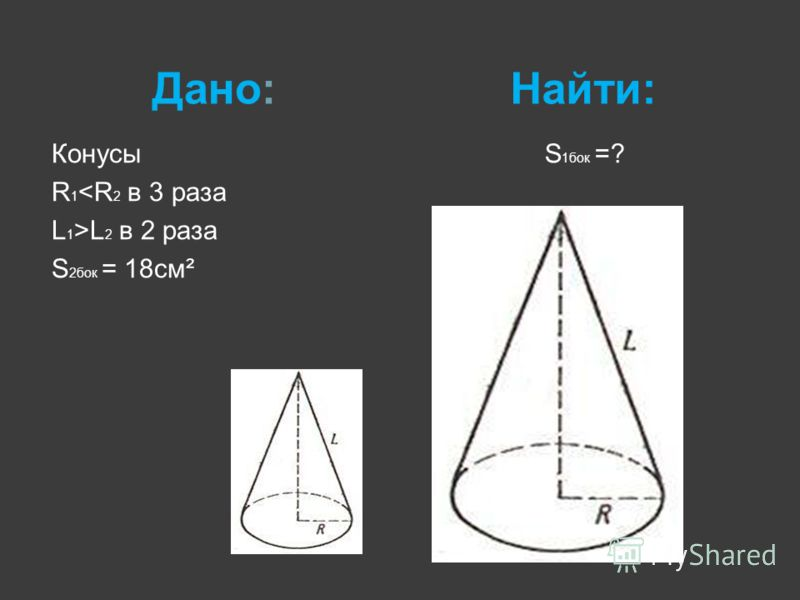 Дано:Найти: Конусы R 1 L 2 в 2 раза S 2бок = 18см² S 1бок =?