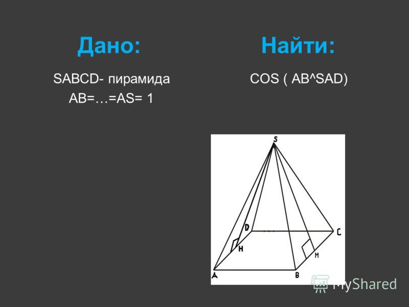 Дано:Найти: SАВСD- пирамида AB=…=АS= 1 COS ( АВ^SАD)