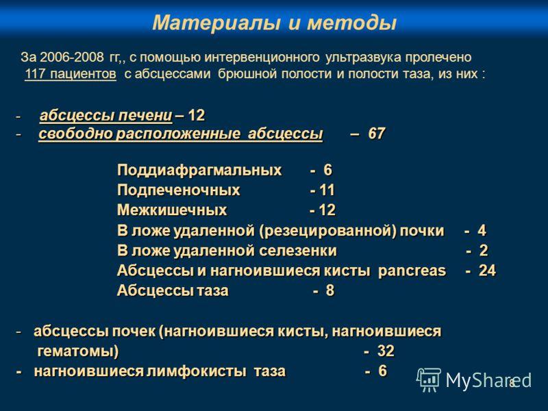 8 - абсцессы печени – 12 - свободно расположенные абсцессы – 67 Поддиафрагмальных - 6 Поддиафрагмальных - 6 Подпеченочных - 11 Подпеченочных - 11 Межкишечных - 12 Межкишечных - 12 В ложе удаленной (резецированной) почки - 4 В ложе удаленной (резециро