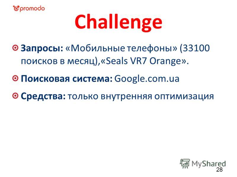 Challenge Запросы: «Мобильные телефоны» (33100 поисков в месяц),«Seals VR7 Orange». Поисковая система: Google.com.ua Средства: только внутренняя оптимизация 28