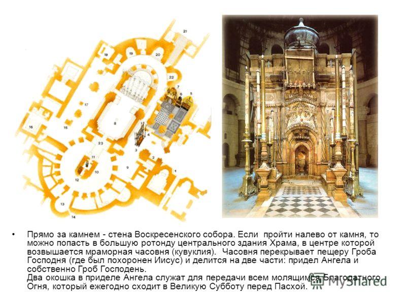 Прямо за камнем - стена Воскресенского собора. Если пройти налево от камня, то можно попасть в большую ротонду центрального здания Храма, в центре которой возвышается мраморная часовня (кувуклия). Часовня перекрывает пещеру Гроба Господня (где был по