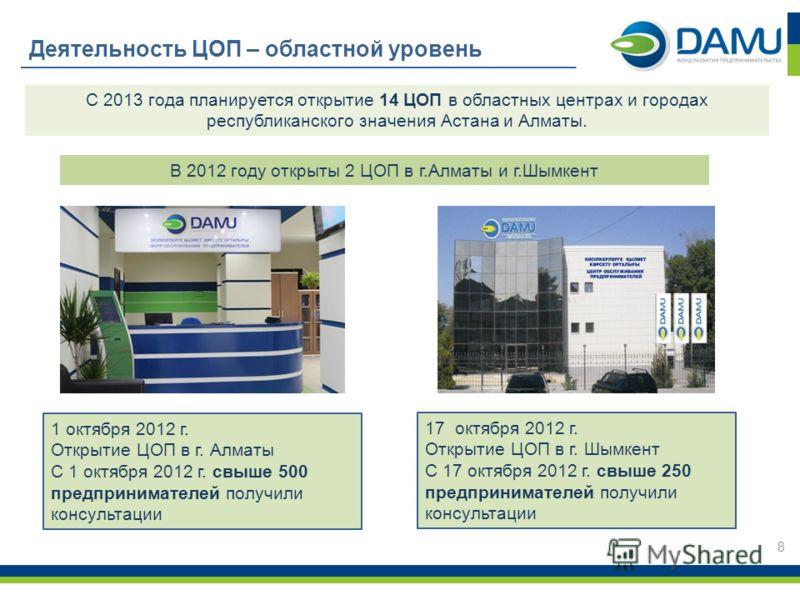 Деятельность ЦОП – областной уровень 1 октября 2012 г. Открытие ЦОП в г. Алматы С 1 октября 2012 г. свыше 500 предпринимателей получили консультации 17октября 2012 г. Открытие ЦОП в г. Шымкент С 17 октября 2012 г. свыше 250 предпринимателей получили