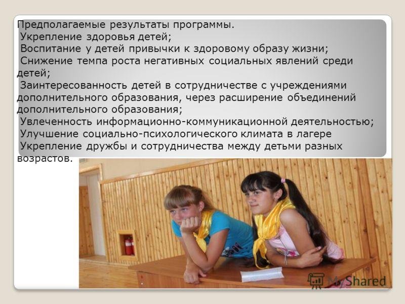 Предполагаемые результаты программы. Укрепление здоровья детей; Воспитание у детей привычки к здоровому образу жизни; Снижение темпа роста негативных социальных явлений среди детей; Заинтересованность детей в сотрудничестве с учреждениями дополнитель