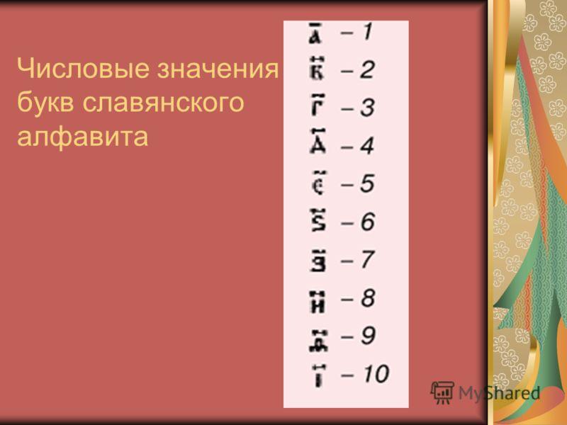 Числовые значения букв славянского алфавита