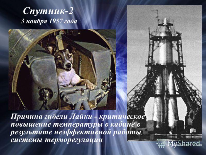 Спутник-2 3 ноября 1957 года Причина гибели Лайки - критическое повышение температуры в кабине в результате неэффективной работы системы терморегуляции