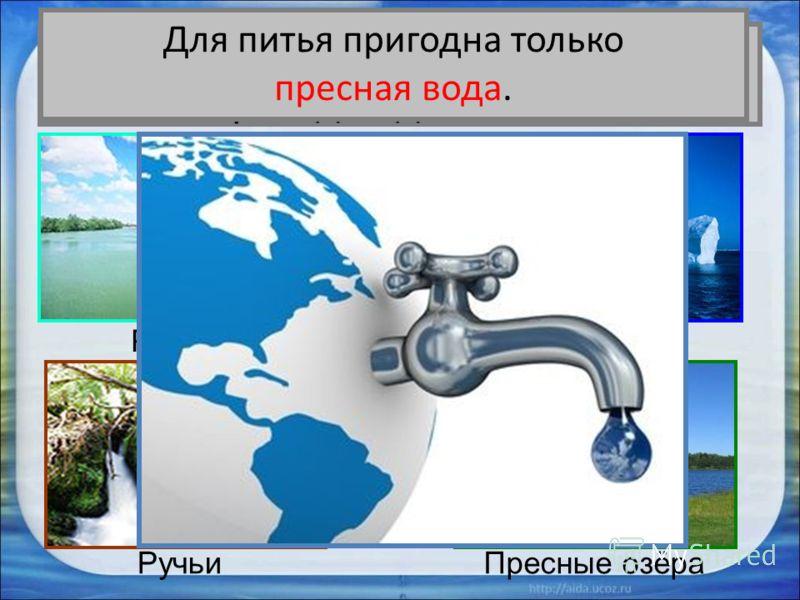 Вся ли вода на Земле пригодна для питья? Реки Ледники РучьиПресные озёра Для питья пригодна только пресная вода.