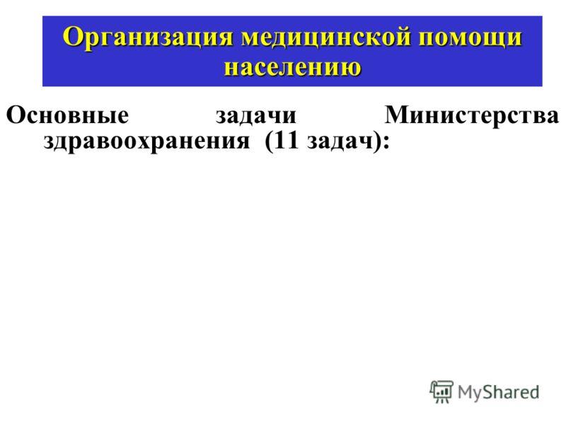 Организация медицинской помощи населению Основные задачи Министерства здравоохранения (11 задач):