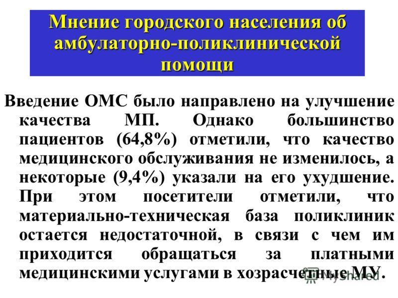 Мнение городского населения об амбулаторно-поликлинической помощи Введение ОМС было направлено на улучшение качества МП. Однако большинство пациентов (64,8%) отметили, что качество медицинского обслуживания не изменилось, а некоторые (9,4%) указали н
