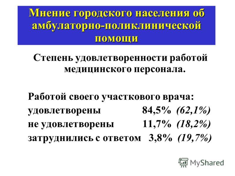 Мнение городского населения об амбулаторно-поликлинической помощи Степень удовлетворенности работой медицинского персонала. Работой своего участкового врача: удовлетворены 84,5% (62,1%) не удовлетворены 11,7% (18,2%) затруднились с ответом 3,8% (19,7