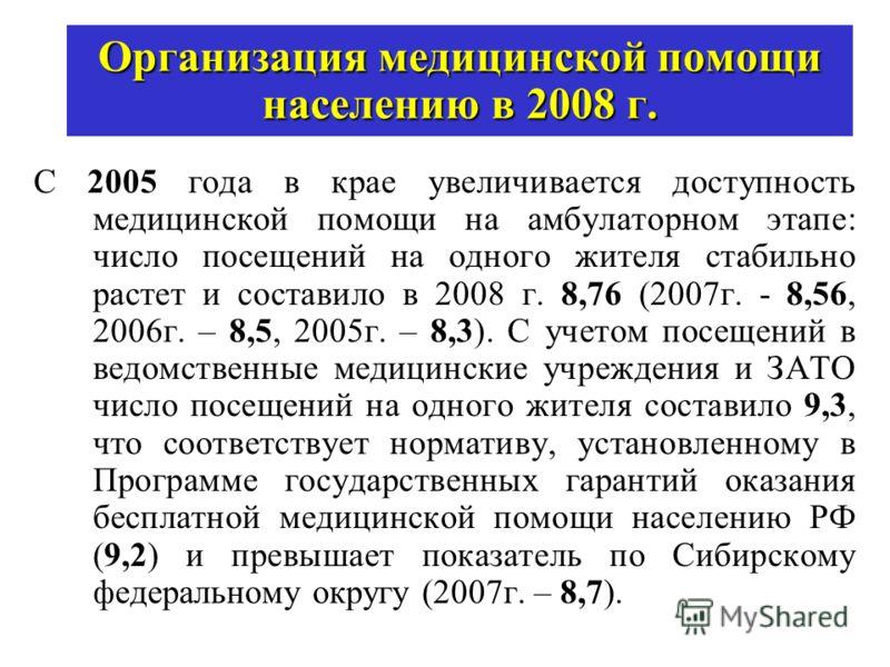 Организация медицинской помощи населению в 2008 г. С 2005 года в крае увеличивается доступность медицинской помощи на амбулаторном этапе: число посещений на одного жителя стабильно растет и составило в 2008 г. 8,76 (2007г. - 8,56, 2006г. – 8,5, 2005г