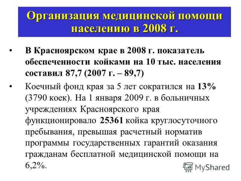 Организация медицинской помощи населению в 2008 г. В Красноярском крае в 2008 г. показатель обеспеченности койками на 10 тыс. населения составил 87,7 (2007 г. – 89,7) Коечный фонд края за 5 лет сократился на 13% (3790 коек). На 1 января 2009 г. в бол