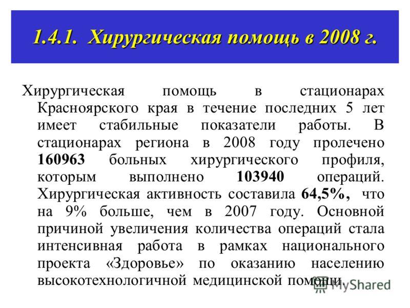 1.4.1. Хирургическая помощь в 2008 г. Хирургическая помощь в стационарах Красноярского края в течение последних 5 лет имеет стабильные показатели работы. В стационарах региона в 2008 году пролечено 160963 больных хирургического профиля, которым выпол