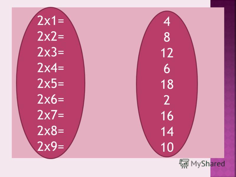 2х1= 2х2= 2х3= 2х4= 2х5= 2х6= 2х7= 2х8= 2х9= 4 8 12 6 18 2 16 14 10