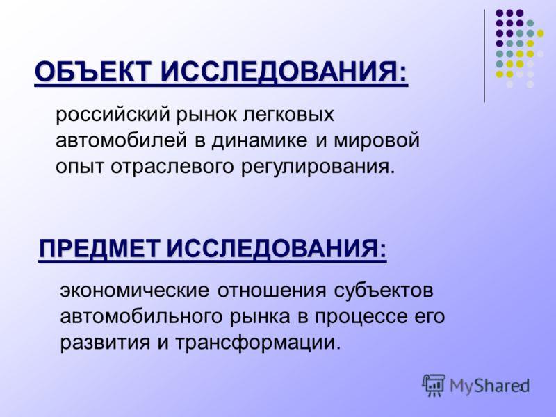 3 ОБЪЕКТ ИССЛЕДОВАНИЯ: российский рынок легковых автомобилей в динамике и мировой опыт отраслевого регулирования. ПРЕДМЕТ ИССЛЕДОВАНИЯ: экономические отношения субъектов автомобильного рынка в процессе его развития и трансформации.
