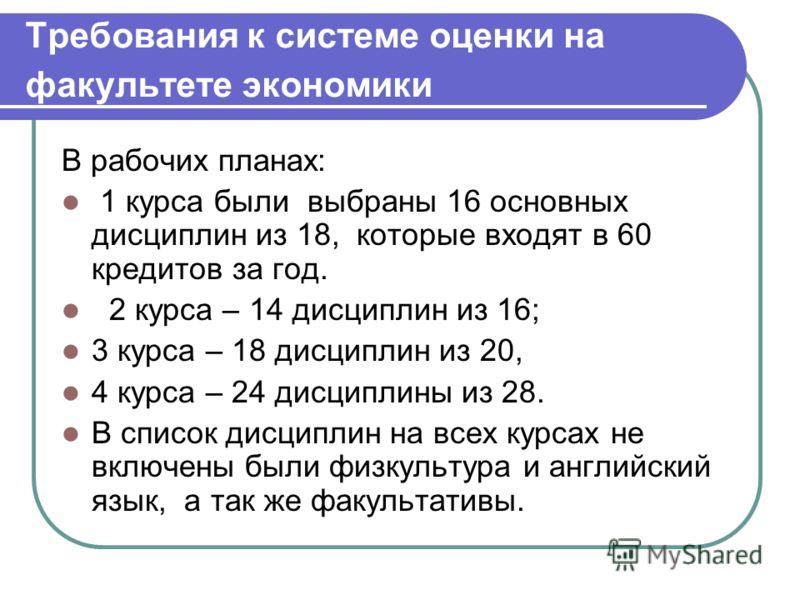 Требования к системе оценки на факультете экономики В рабочих планах: 1 курса были выбраны 16 основных дисциплин из 18, которые входят в 60 кредитов за год. 2 курса – 14 дисциплин из 16; 3 курса – 18 дисциплин из 20, 4 курса – 24 дисциплины из 28. В