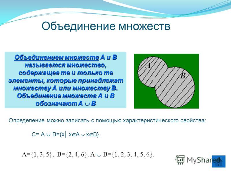 Объединением множеств А и В называется множество, содержащее те и только те элементы, которые принадлежат множеству А или множеству В. Объединение множеств А и В обозначают А И В Определение можно записать с помощью характеристического свойства: С= А