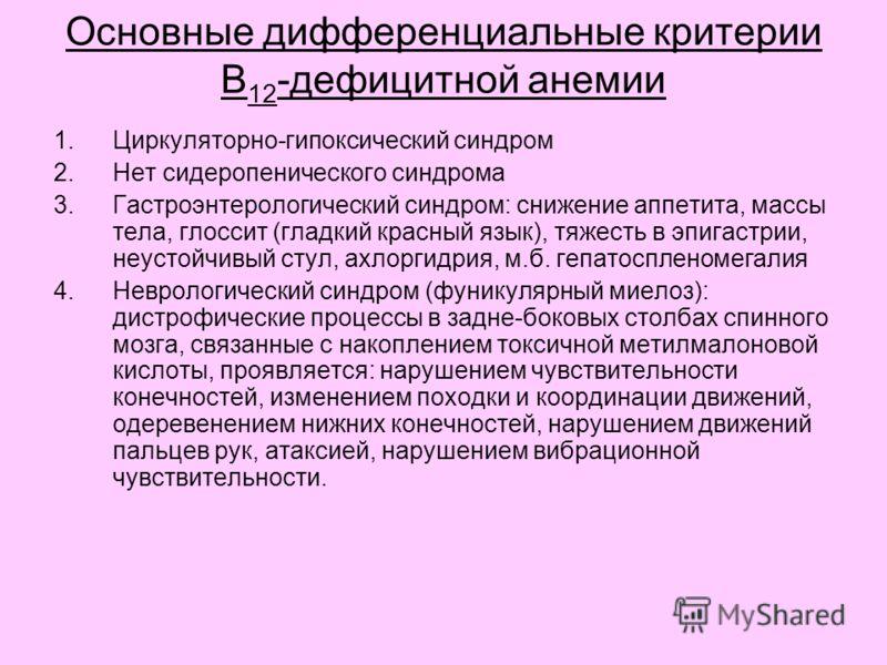 Основные дифференциальные критерии В 12 -дефицитной анемии 1.Циркуляторно-гипоксический синдром 2.Нет сидеропенического синдрома 3.Гастроэнтерологический синдром: снижение аппетита, массы тела, глоссит (гладкий красный язык), тяжесть в эпигастрии, не