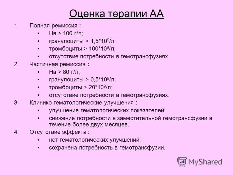 Оценка терапии АА 1.Полная ремиссия : Нв > 100 г/л; гранулоциты > 1,5*10 9 /л; тромбоциты > 100*10 9 /л; отсутствие потребности в гемотрансфузиях. 2.Частичная ремиссия : Нв > 80 г/л; гранулоциты > 0,5*10 9 /л; тромбоциты > 20*10 9 /л; отсутствие потр