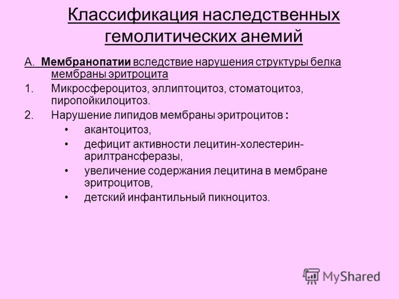 Классификация наследственных гемолитических анемий А. Мембранопатии вследствие нарушения структуры белка мембраны эритроцита 1.Микросфероцитоз, эллиптоцитоз, стоматоцитоз, пиропойкилоцитоз. 2.Нарушение липидов мембраны эритроцитов : акантоцитоз, дефи